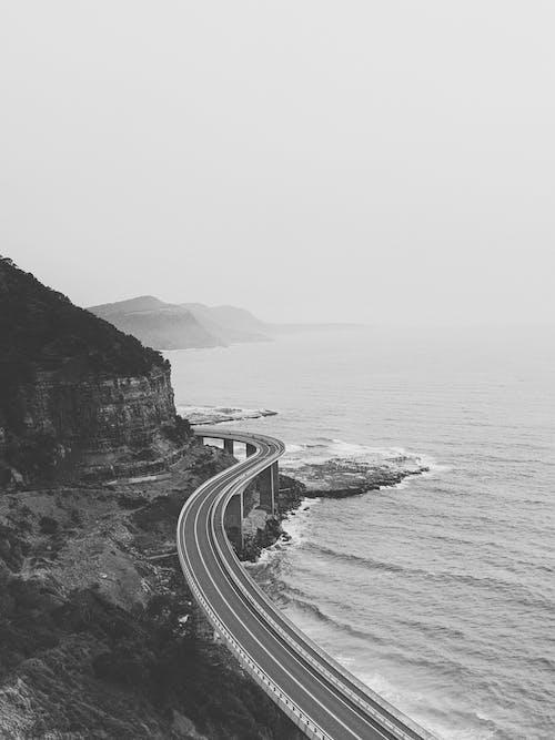 고속도로, 공중 촬영, 그레이스케일, 도로의 무료 스톡 사진