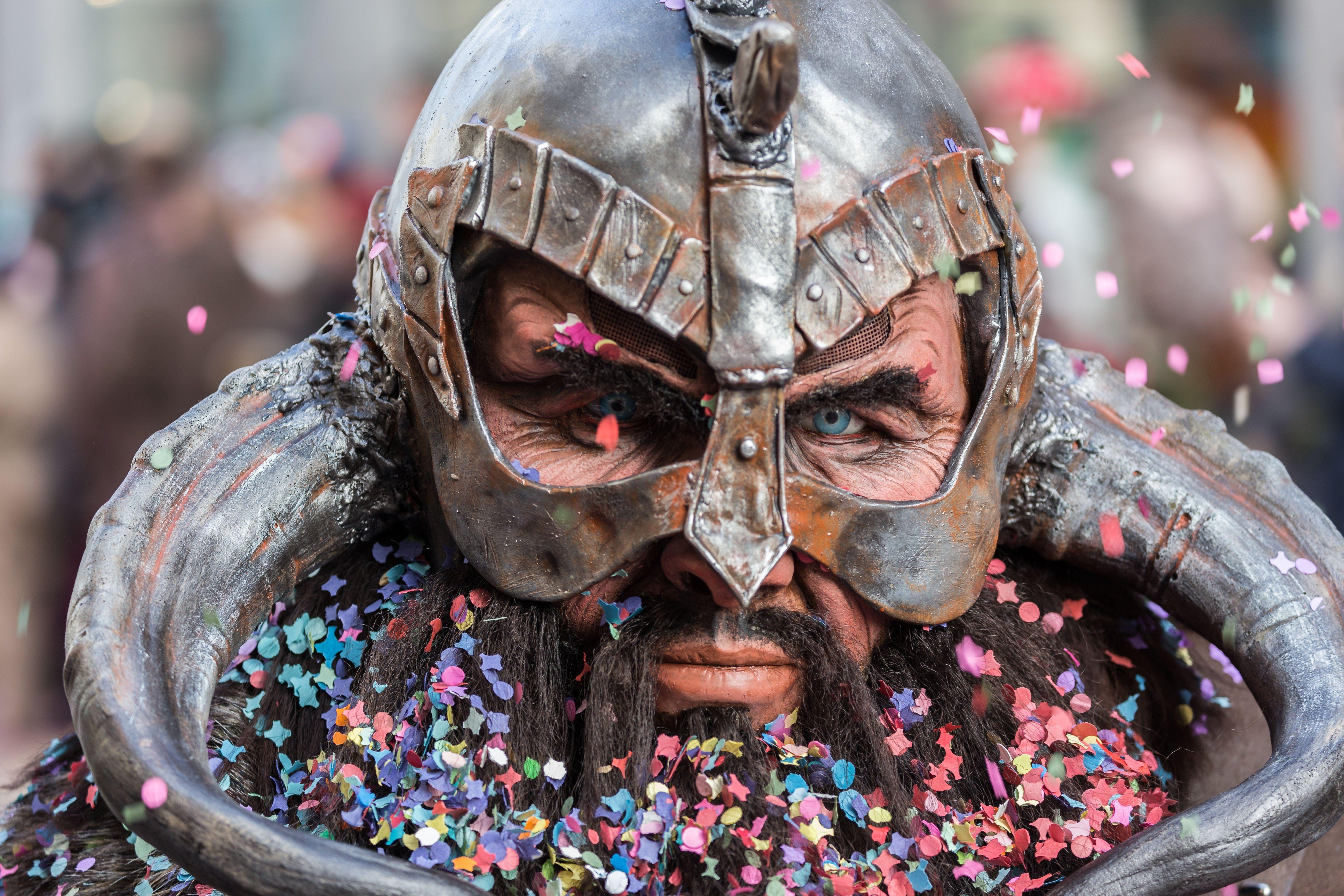 Man Wearing Viking Helmet Focus Photography · Free Stock Photo
