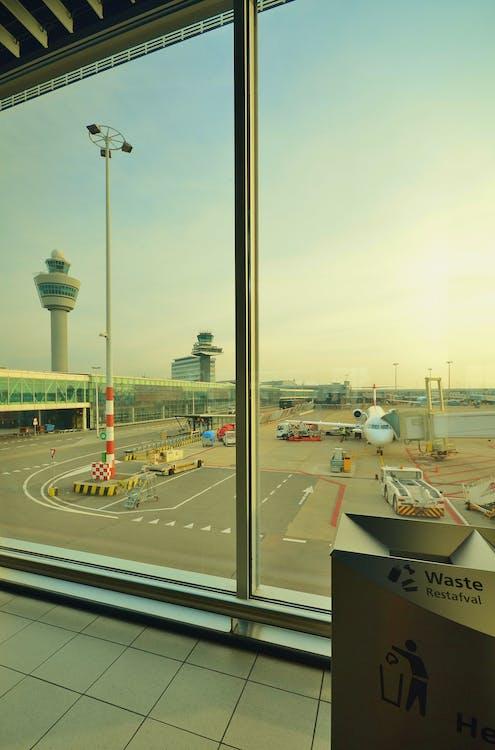 aeroport, avió, terminal