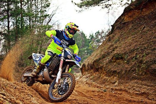 Rider Riding Green Motocross Dirt Bike 183 Free Stock Photo
