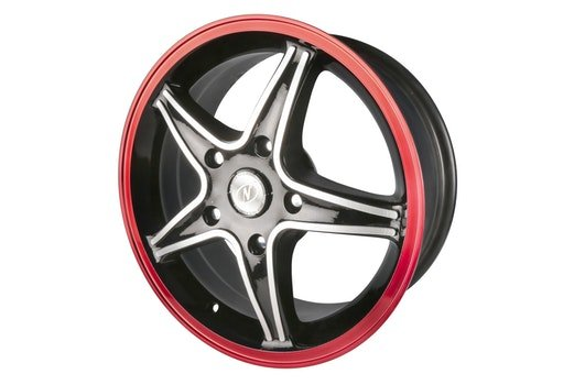 Black 5 Spoke Red Auto Rim