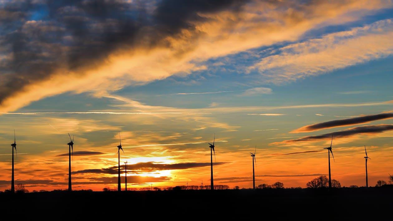 Silhouette of Windmills