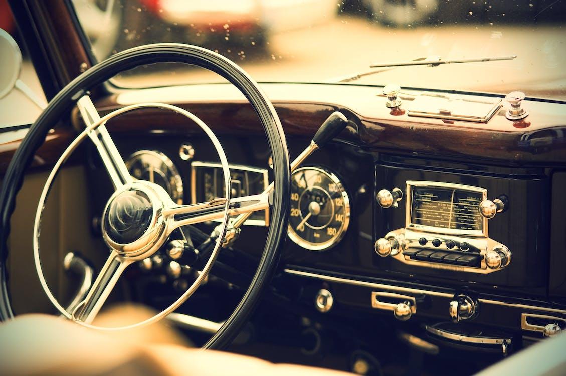 Silver and Black Steering Wheel