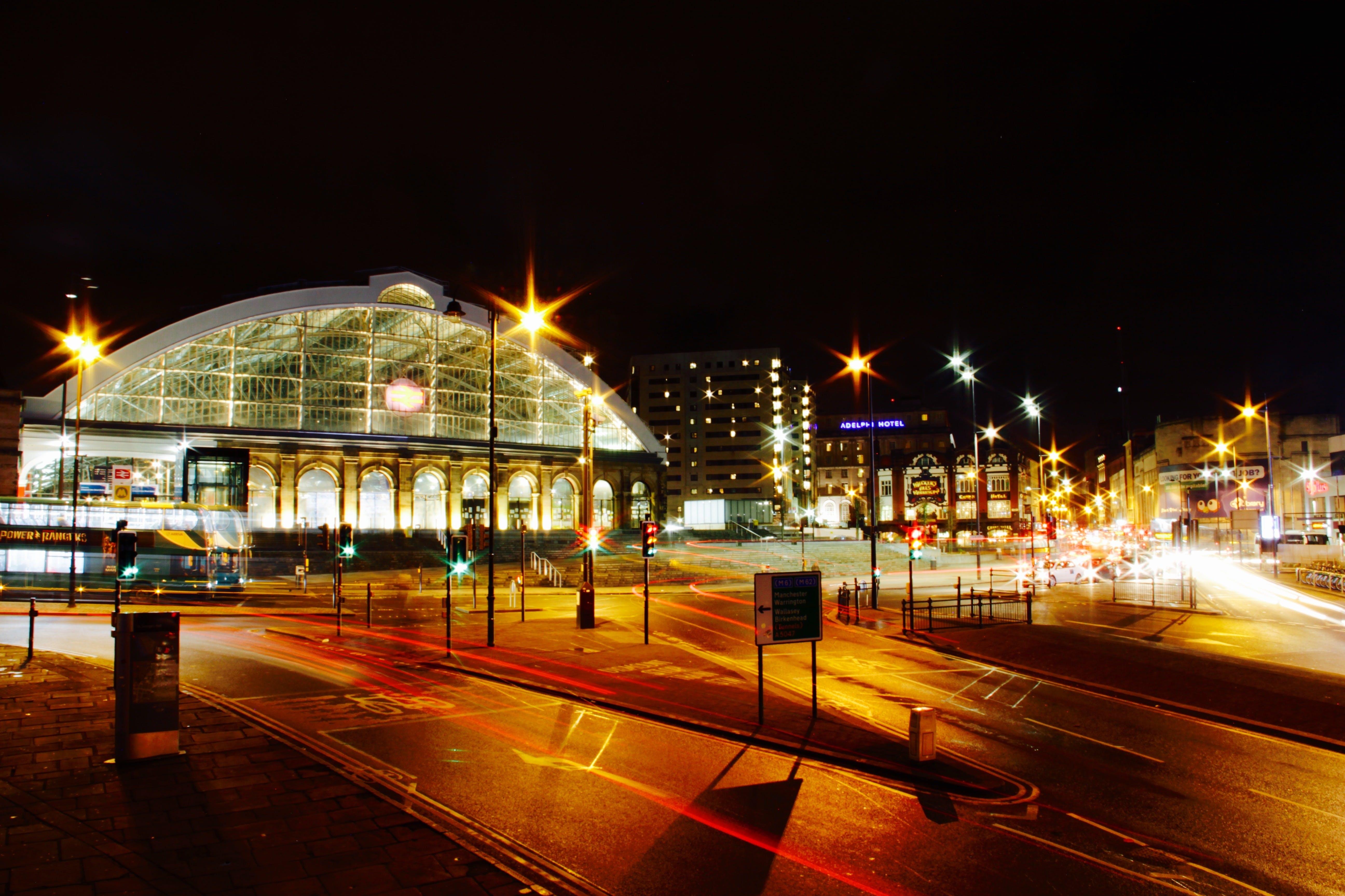 Lighted Stadium during Night