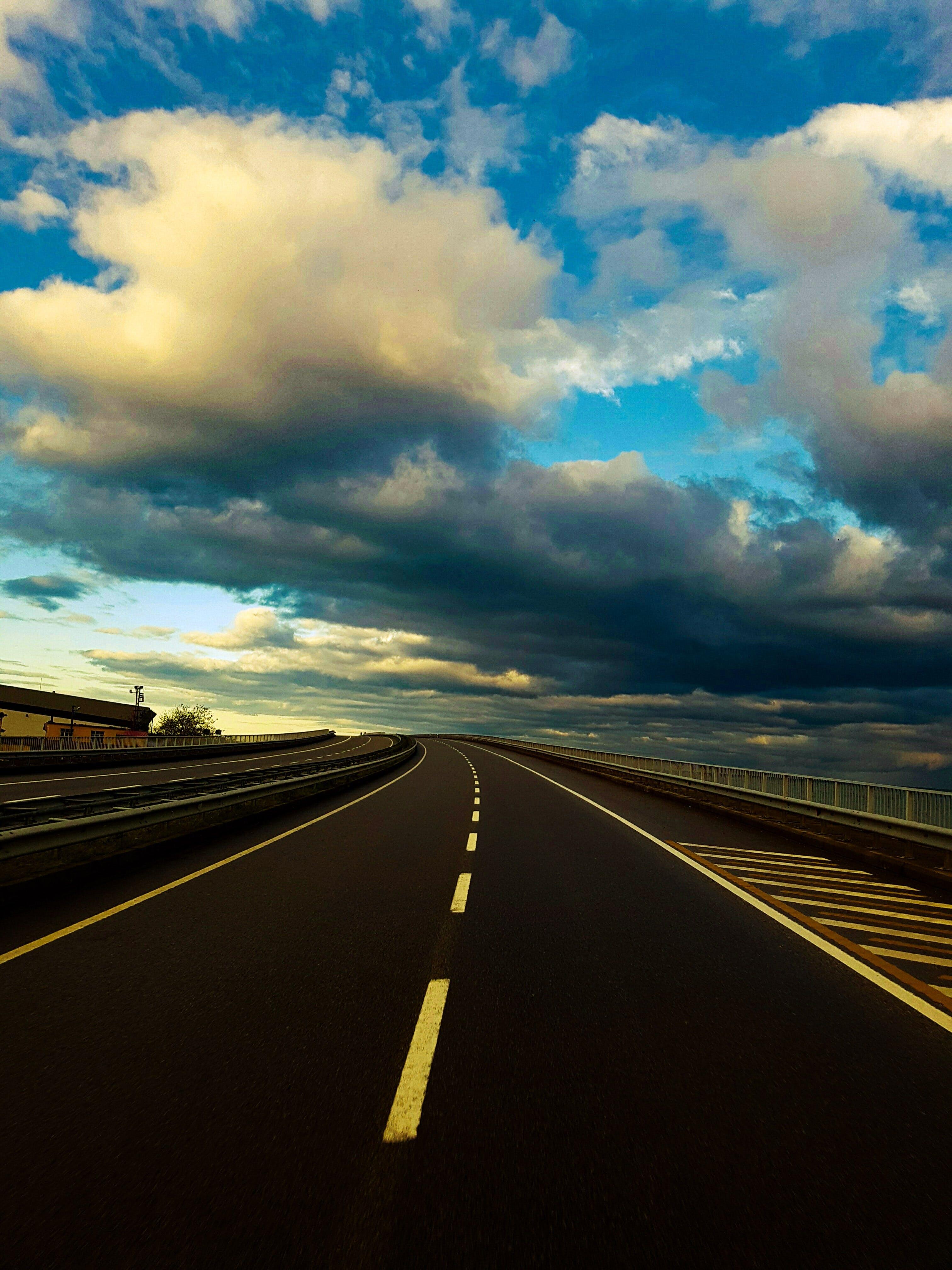 asfalt, gade, lang