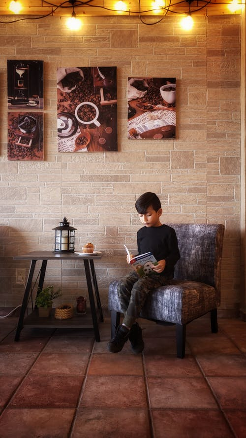 Boy Reading Book Sitting on Sofa Chair
