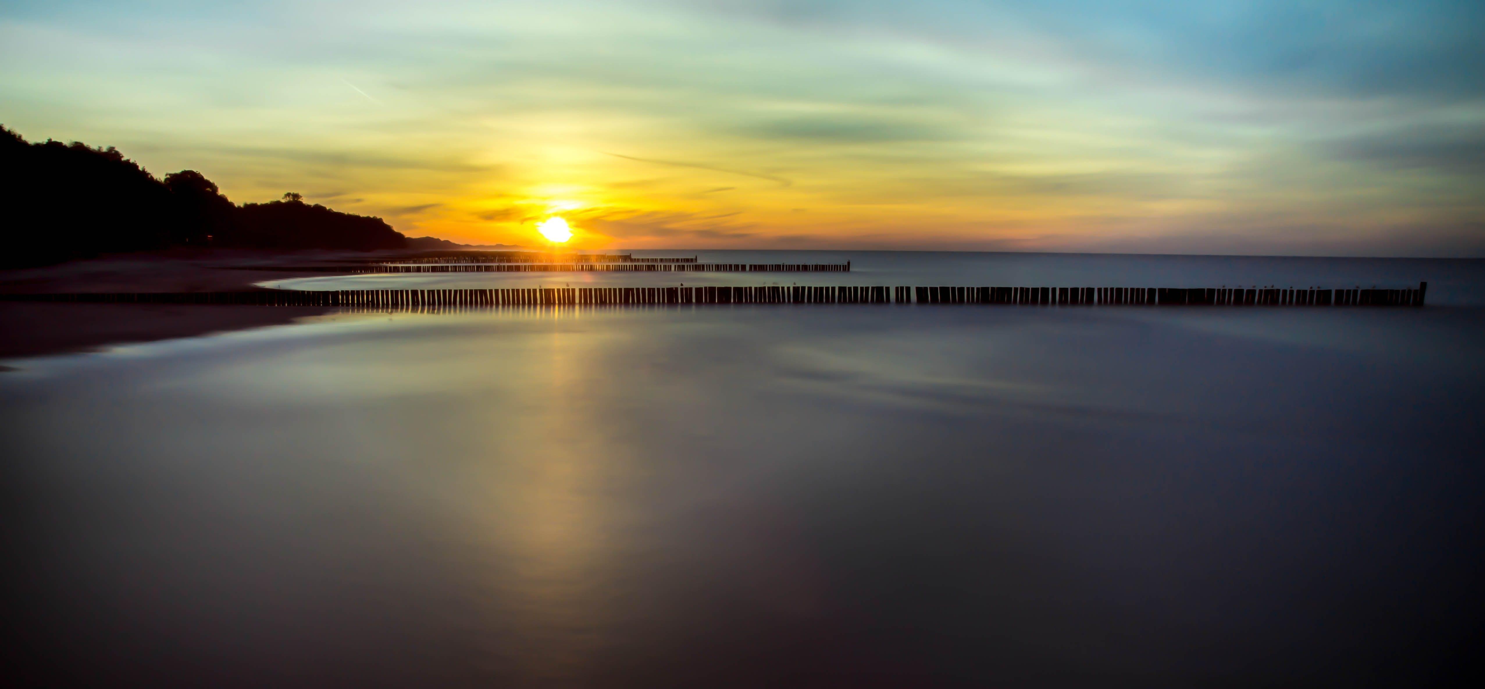 beach, dawn, dock