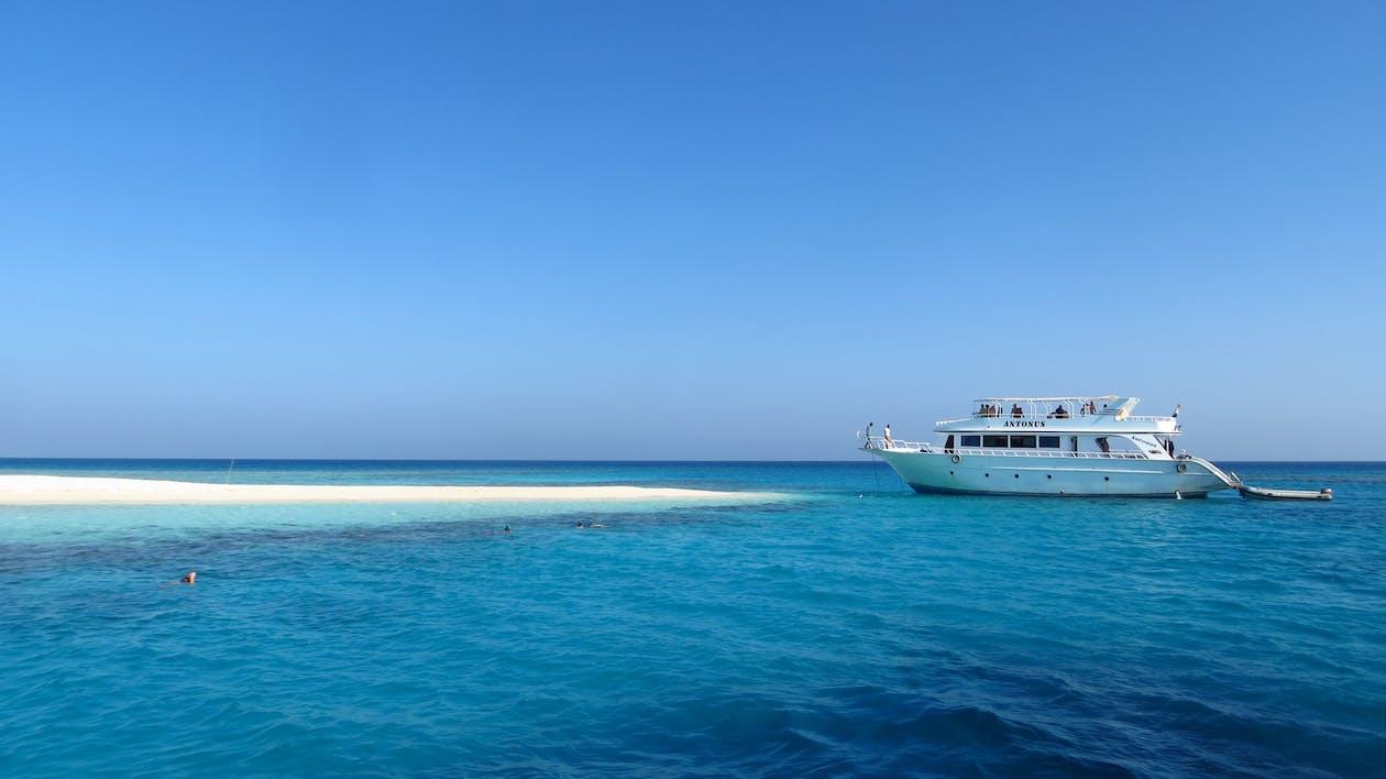 agua, azul, barca