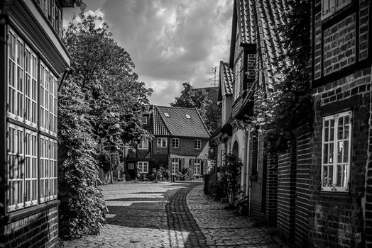 Free stock photo of black-and-white, road, street, village