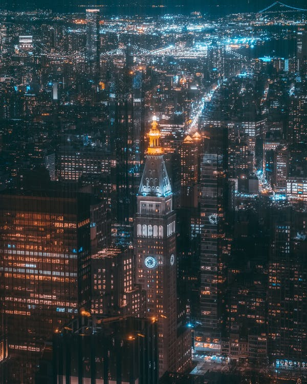Aerial Photography of High-rise Buildings at Night