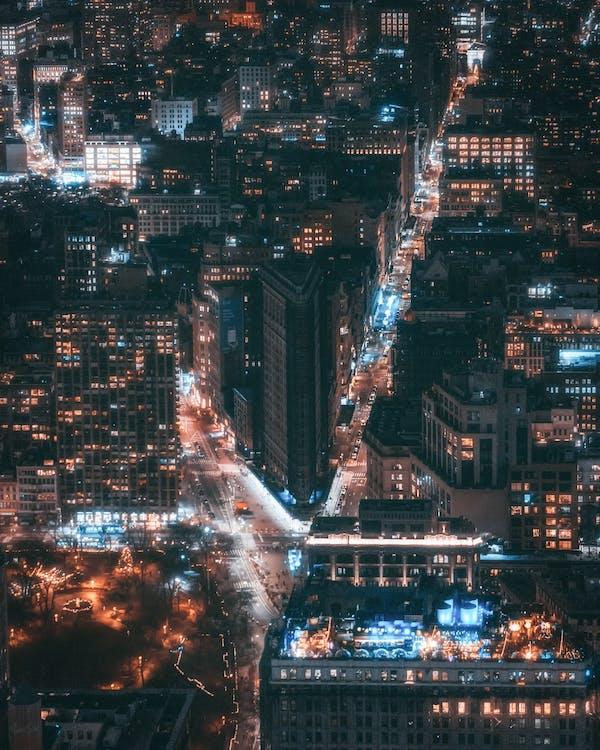 Photographie Aérienne Des Bâtiments De La Ville La Nuit