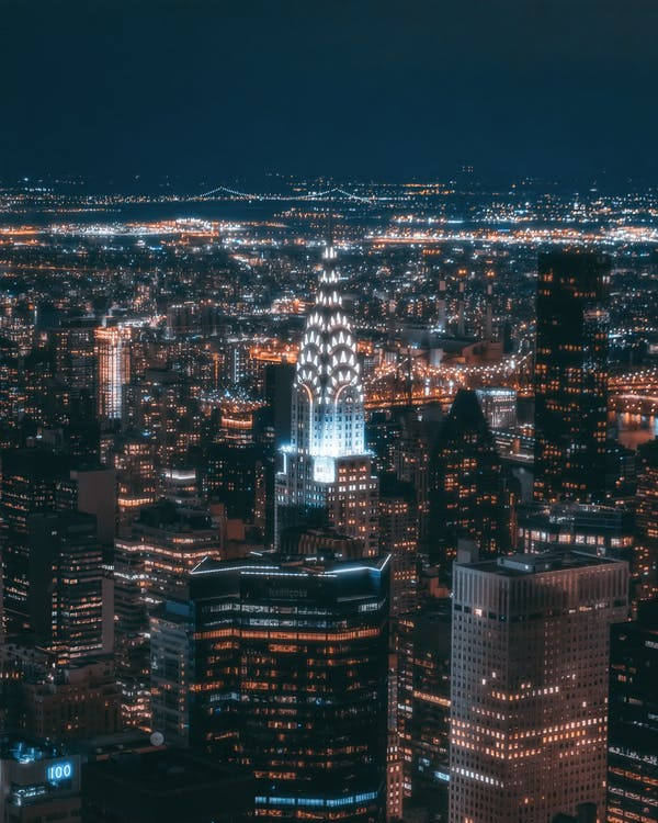 Aerial Photo of City Building During Night