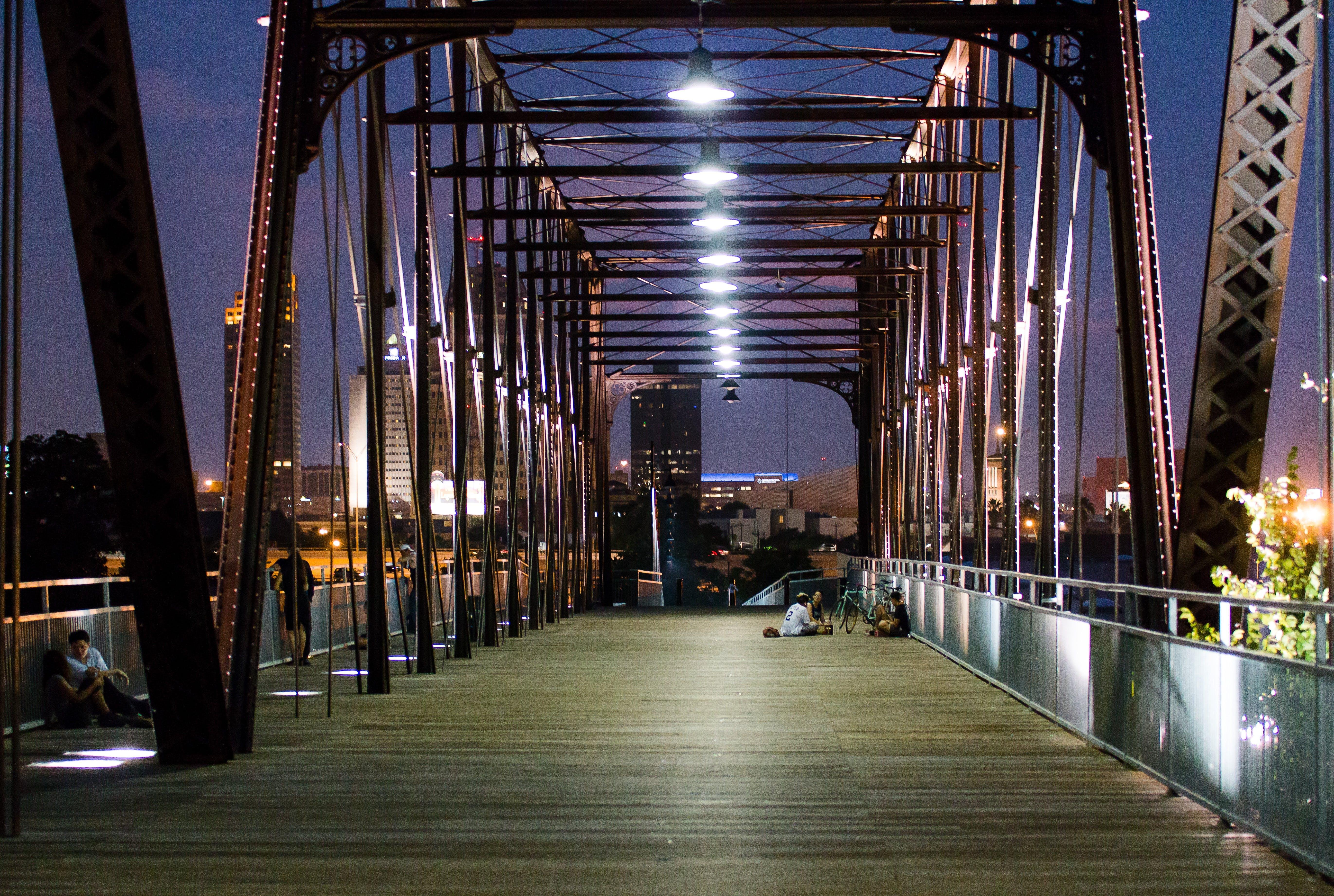 Brown and Silver Steel Suspension Bridge