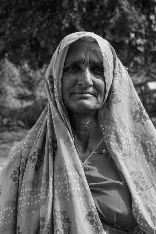 Greyscale Photography of Woman Wearing Headscarf