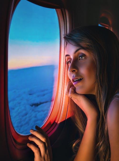 Foto d'estoc gratuïta de aviació, capvespre, cel, cel blau