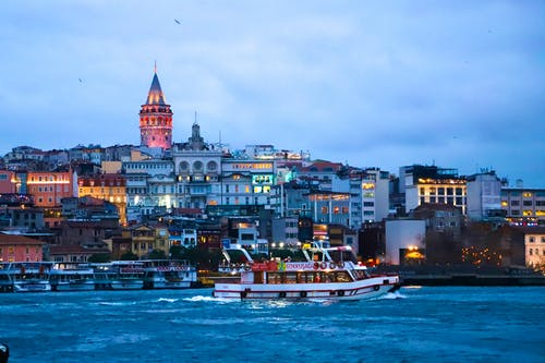Free stock photo of estuary, galata tower, Istanbul, sea vessels