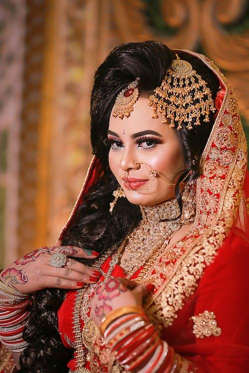 Free stock photo of bridal, bride, jewelries, saree
