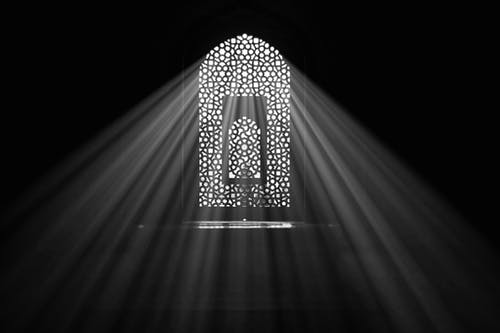 Free stock photo of arched window, bw, bw film
