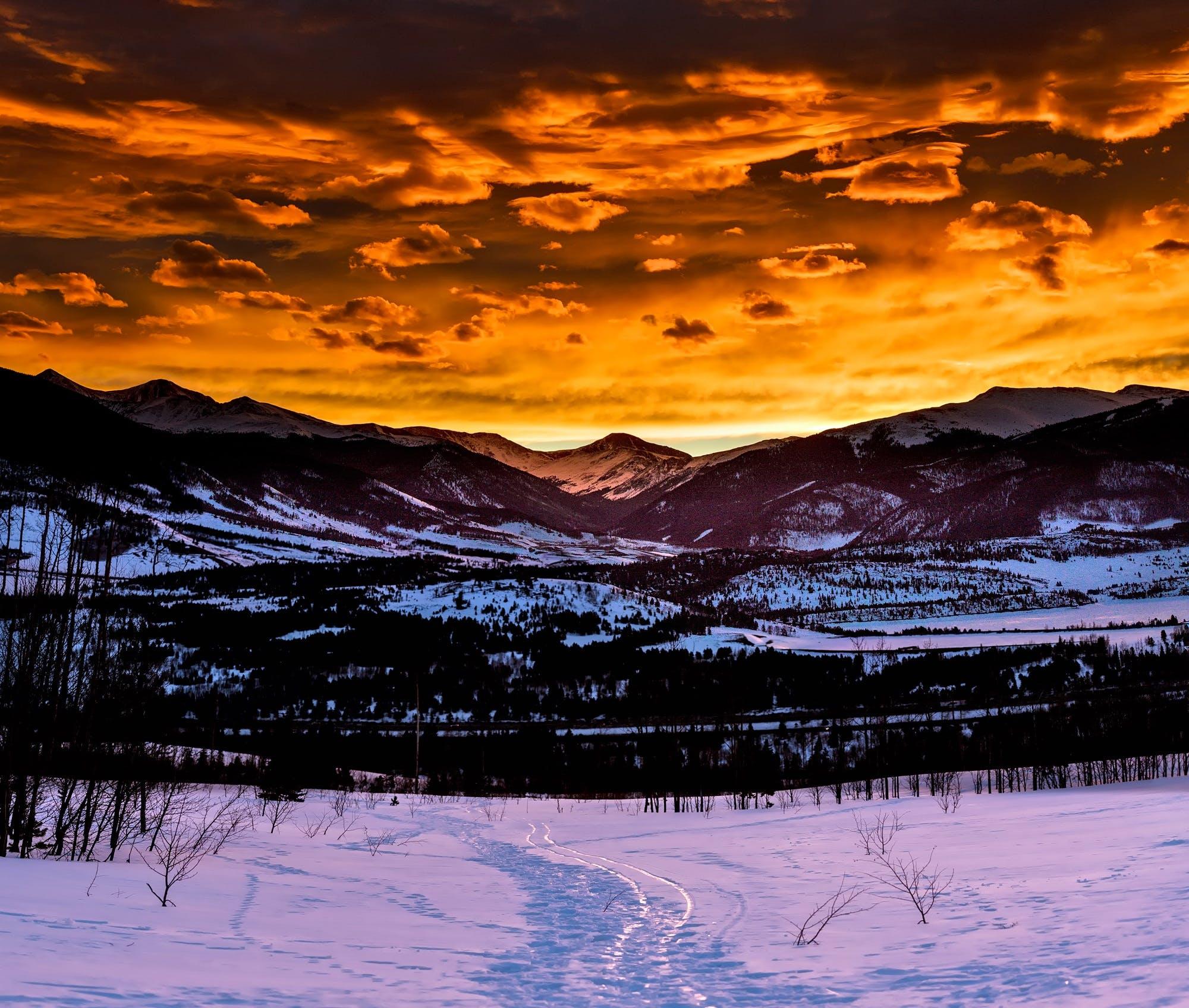Free stock photo of snow, light, road, dawn