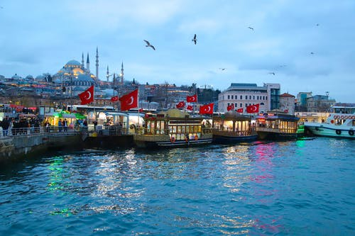 Free stock photo of a mosque, evening-sky, fish market, flag of turkey