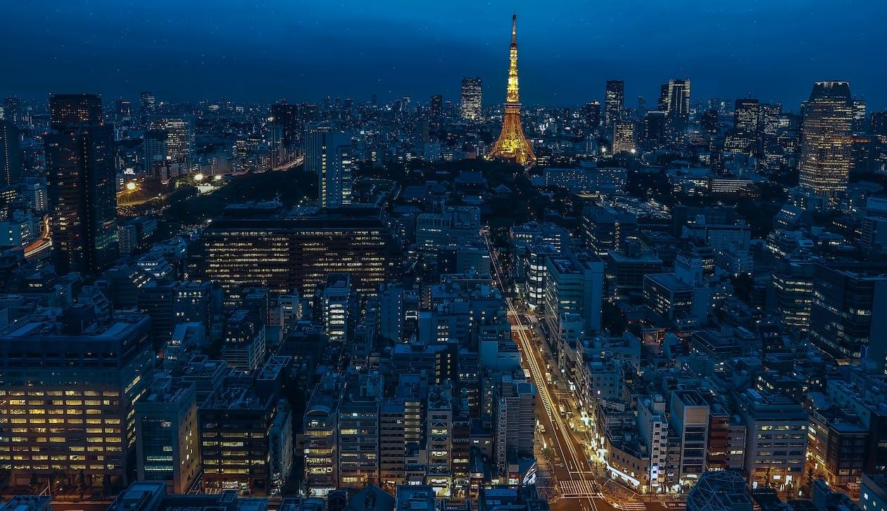 ánh đèn thành phố, các tòa nhà, cảnh quan thành phố