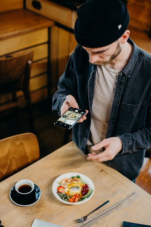 Man Taking Photo of His Breakfast and Coffee on the Table