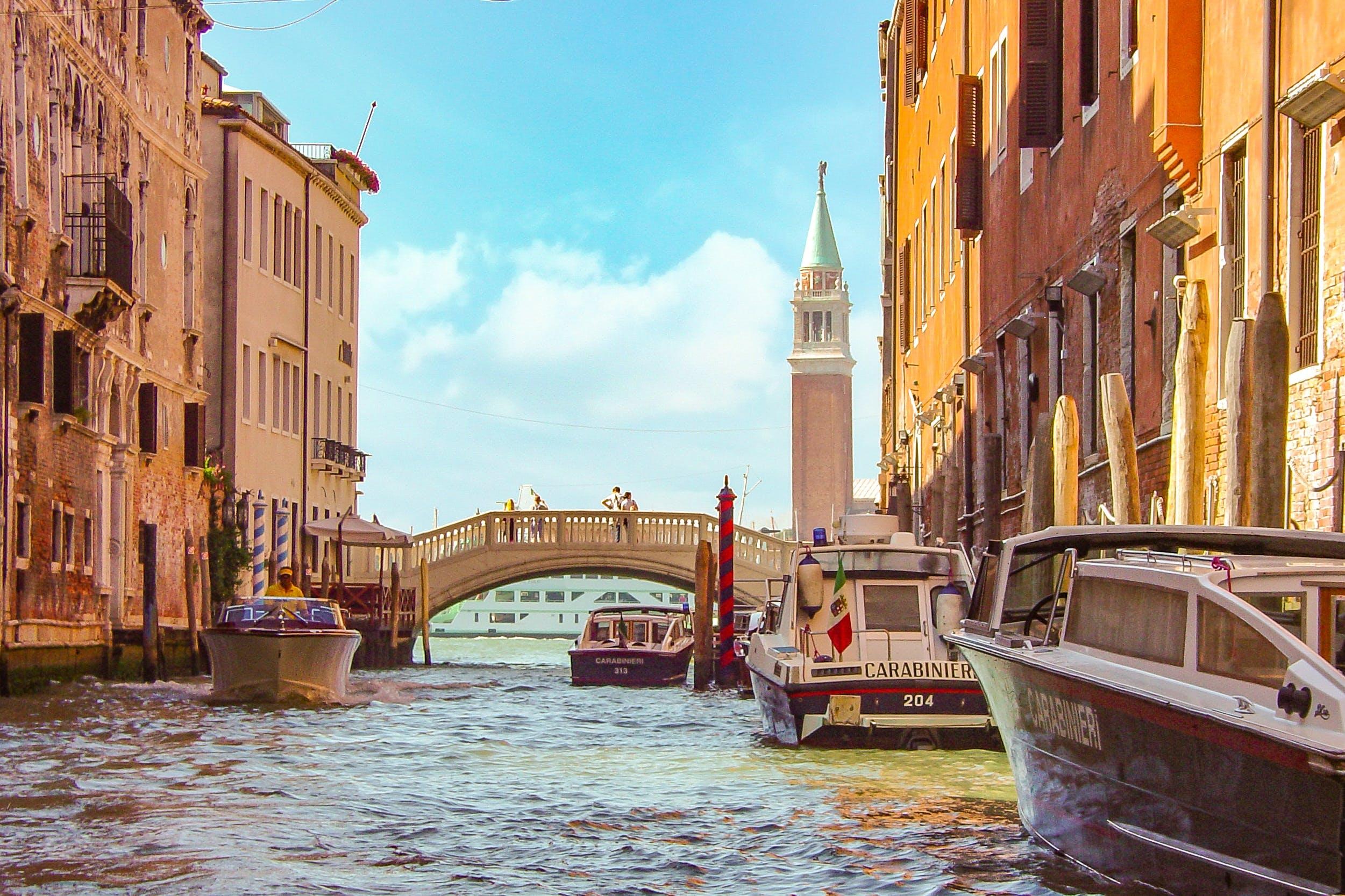Free stock photo of boats, bridge, italy, canal