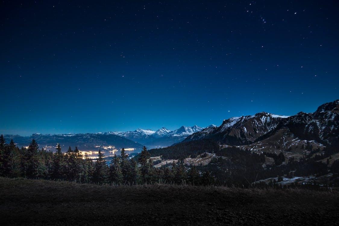 astronomi, berg, blå