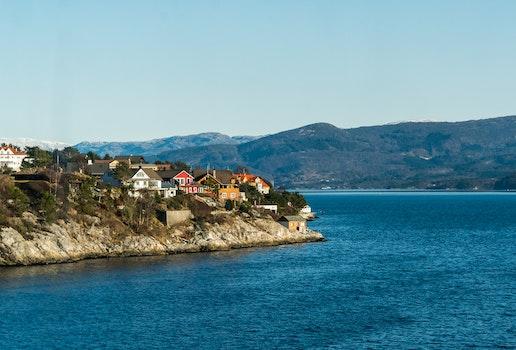 Free stock photo of sea, city, landscape, mountains