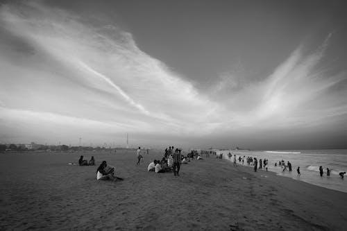 Free stock photo of beach, beach bar, black and white, streetphotography