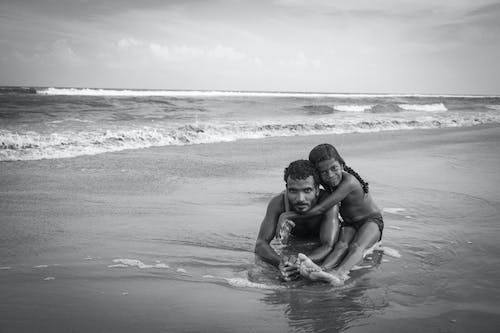 Free stock photo of beach, black and white, father, father and child