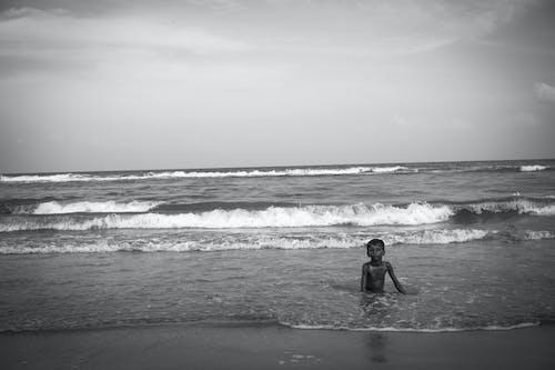 Free stock photo of Adobe Photoshop, beach, black and white, BW photography