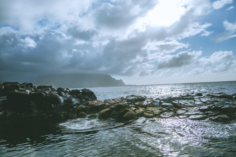 beach, clouds, island