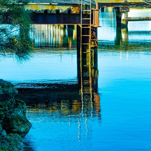 Free stock photo of abstract photo, jetty reflection