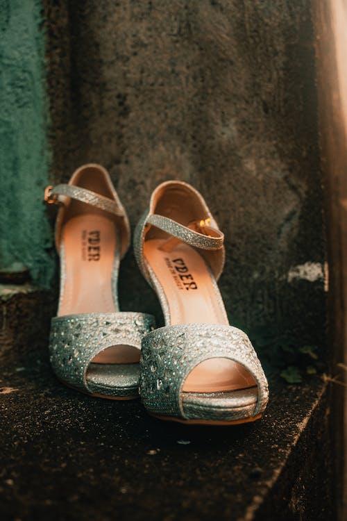 Pair of  White Peep Toe High Heels