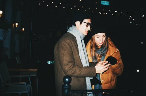 Man And Woman Wearing Winter Clothing