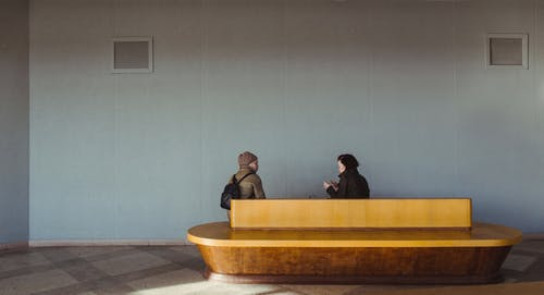 Free stock photo of couple, indoor, station, talk