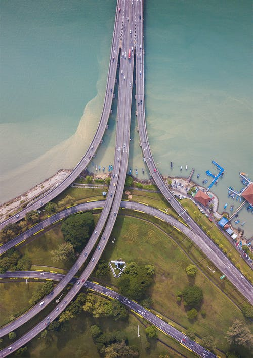 Aerial View of a Bridge on Body of Water