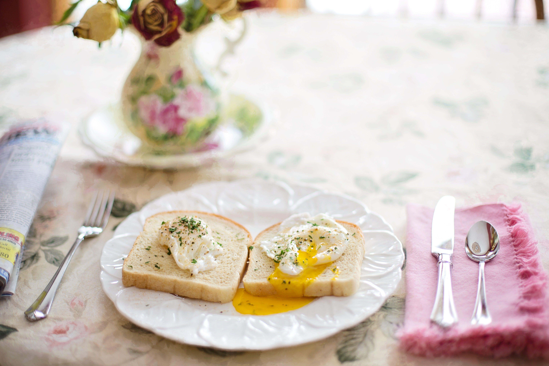 breakfast, cutlery, eggs