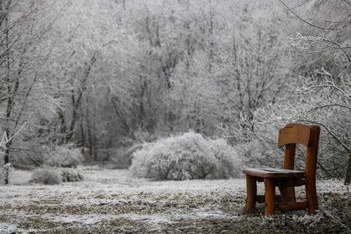 Brown Wooden Chair on Snow Covered Ground