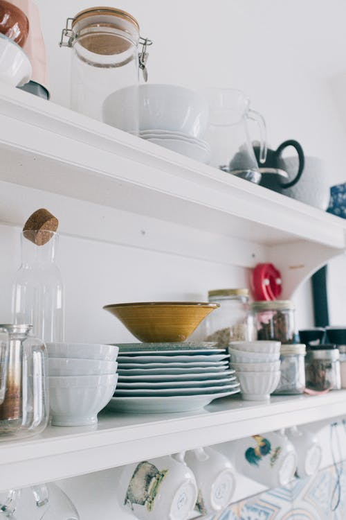 Wooden Shelves with Kitchen Utensils