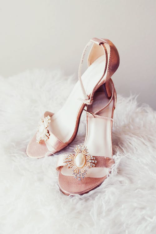 Pink and White Floral Peep Toe Heeled Sandals