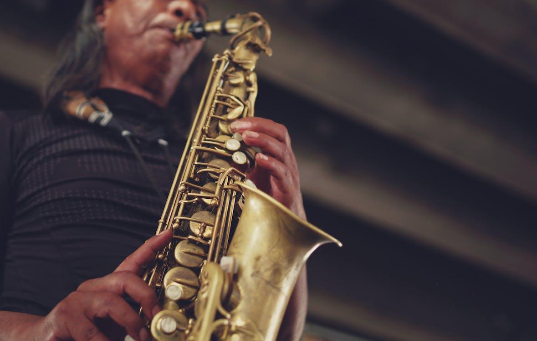 desempenho, homem, instrumento