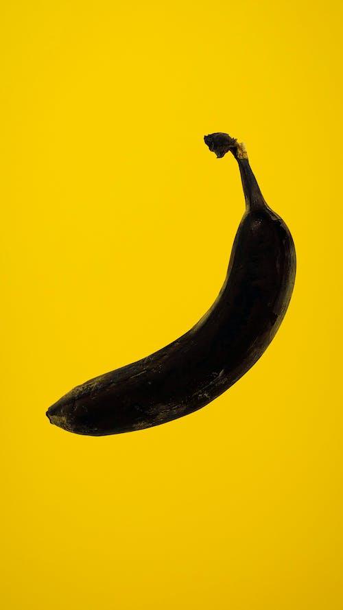 Rotten Banana on Yellow Background