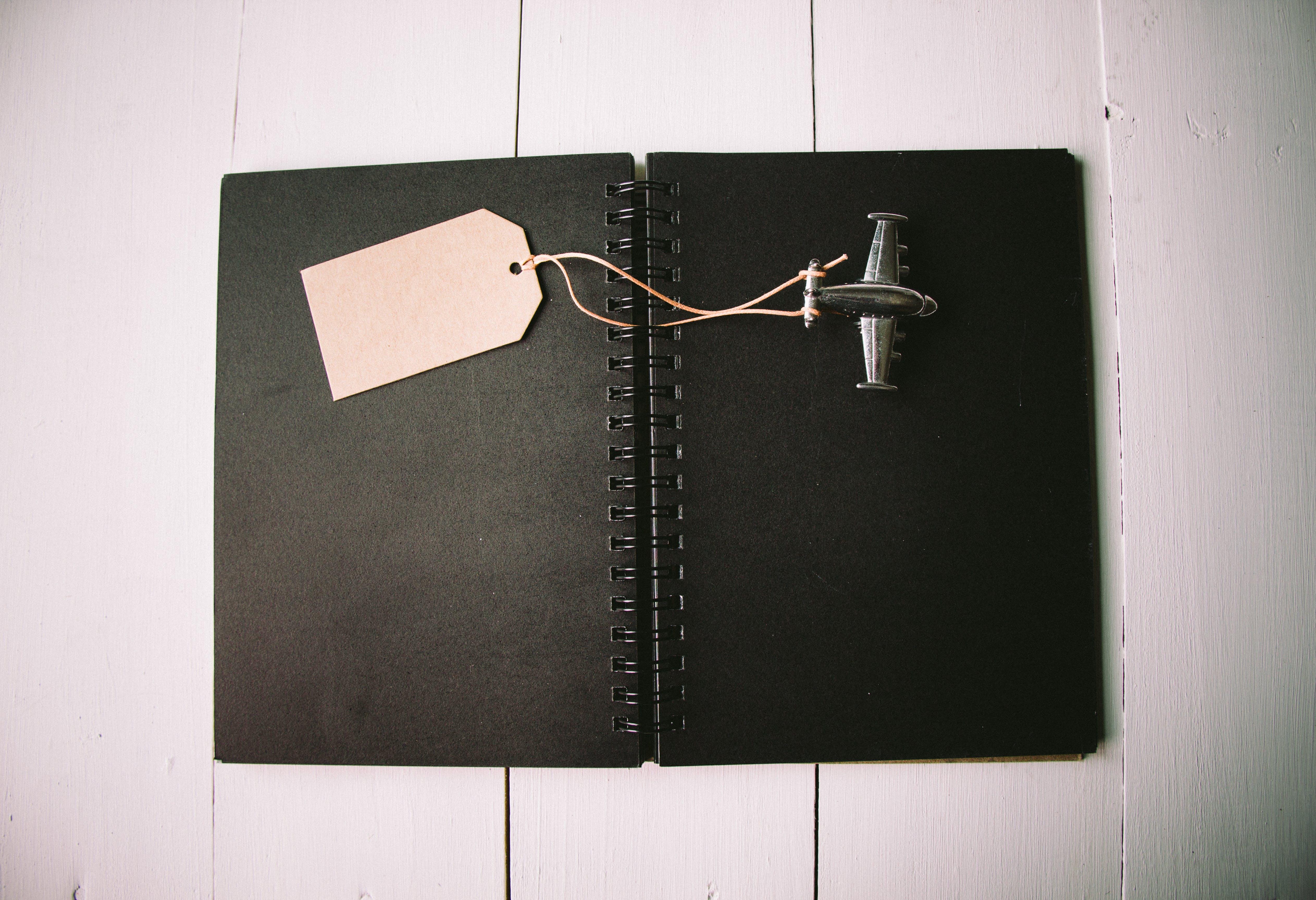 Brown Bookmark and Black Plane Keychain