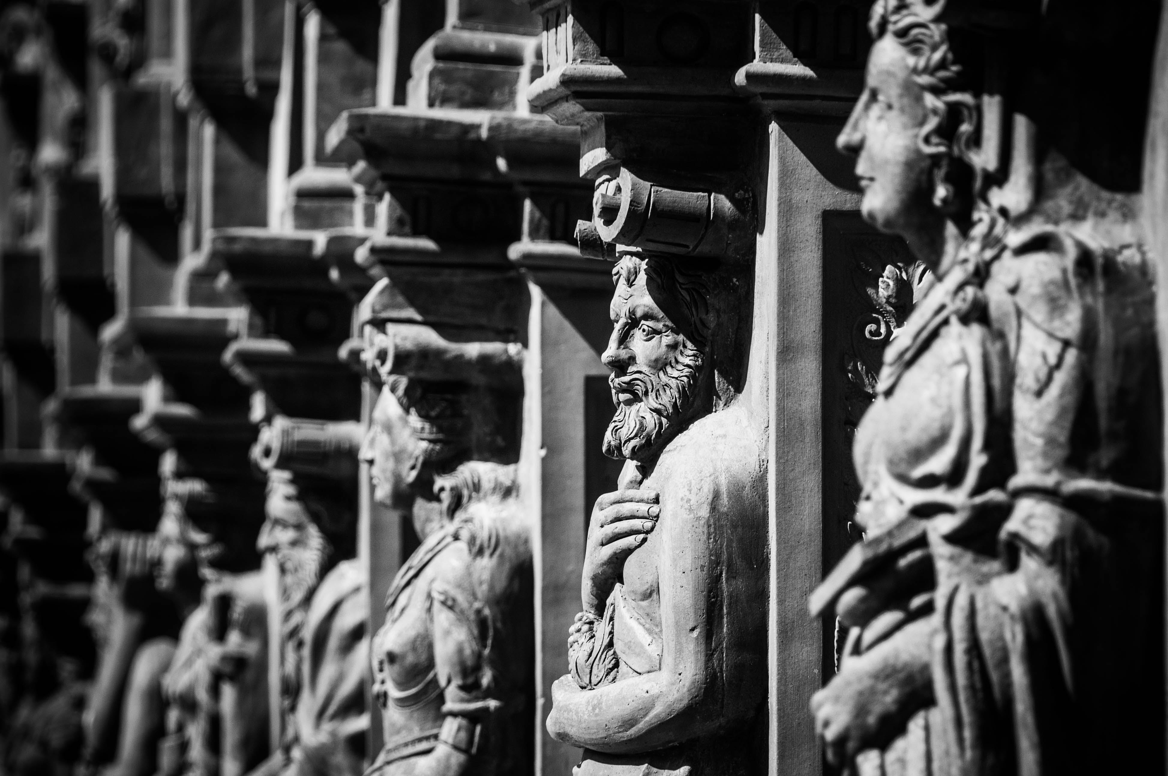 Free stock photo of black and white historical castle figures