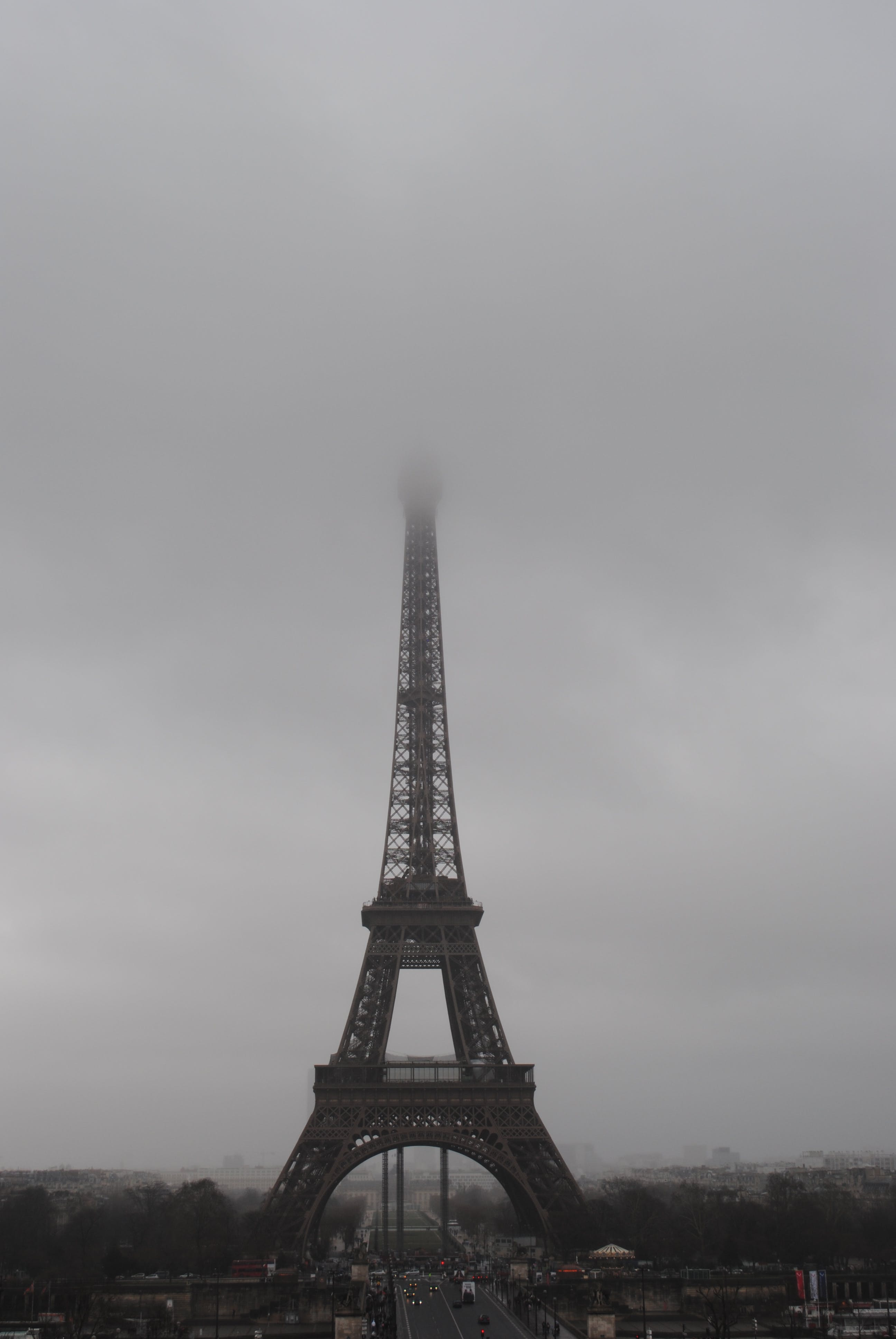Eiffel Tower in Paris Under Grey Clouds