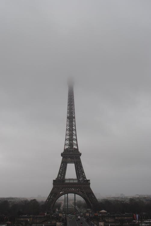 Eiffel Tower in Paris Under Grey Clouds