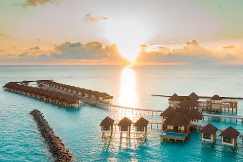 คลังภาพถ่ายฟรี ของ จากข้างบน, ตะวันลับฟ้า, ทางอากาศ, พระอาทิตย์ขึ้น