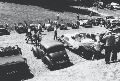Free stock photo of black and white, old cars, vintage cars